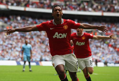 LONDON, ENGLAND - AUGUST 07: Nani of Manchester United celebrates scoring the equalising goal during the FA Community Shield match sponsored by McDonald's between Manchester City and Manchester United at Wembley Stadium on August 7, 2011 in London, England. (Photo by Ian Walton/Getty Images)