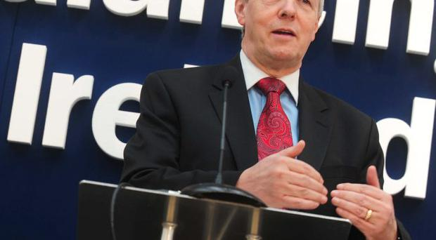 Peter Robinson at the announcement of the corporation tax consultation paper in March
