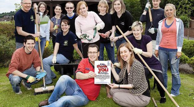 Bombardier staff who, as part of the company's employee volunteering initiative, supported the Northern Ireland's Children's Hospice by helping out in the gardens of Horizon House, Belfast.
