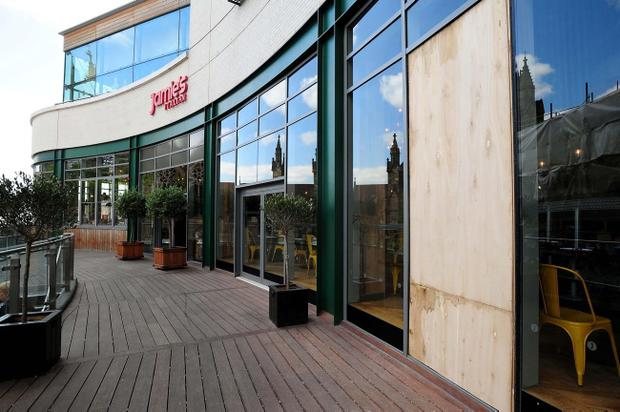 Jamie Oliver's Italian restaurant in the Bullring shopping centre in Birmingham was damaged during rioting in the area last night