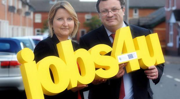 Employment Minister Stephen Farry joined Jackie Millar, project manager of the Stepping Stone Project at the East Belfast Mission, which will deliver the Jobs4u initiative