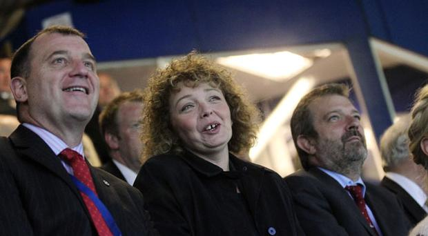 Sports Minister Caral Ni Chuilin attends Northern Ireland's game against the Faroe Islands at Windsor Park