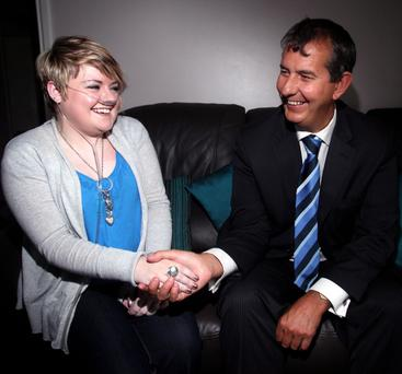 Health Minister Edwin Poots meets CF sufferer Libby Nash