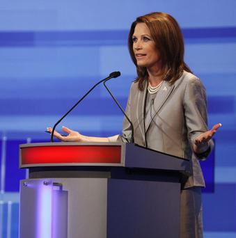 Michele Bachmann during the Republican presidential debate in Iowa (AP)