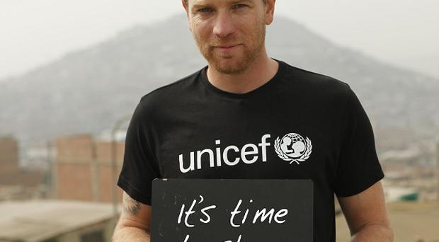 Ewan McGregor appeared in a short film asking people for donations to Unicef's appeal in aid of starving children in east Africa