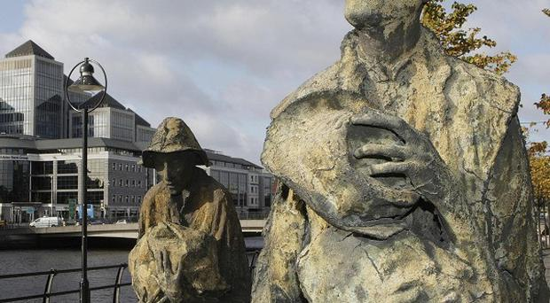 Statues depicting the Irish Famine in the financial district of Dublin