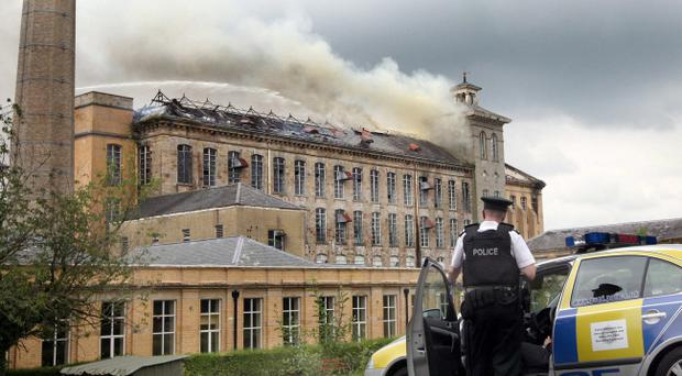 Historic Herdman's Mill in Sion Mills on fire last month. It's just one of a number of listed buildings that have been hit by blazes in recent months