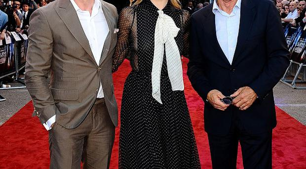 Daniel Craig and Harrison Ford at the UK Premiere of Cowboys and Aliens, which also stars Olivia Wilde