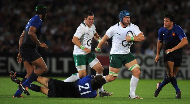 BORDEAUX, FRANCE - AUGUST 13: Sean O'Brien of Ireland gets away from David Skrela of France during the international friendly between France and Ireland at Stade Chaban-Delmas on August 13, 2011 in Bordeaux, France. (Photo by Christopher Lee/Getty Images)