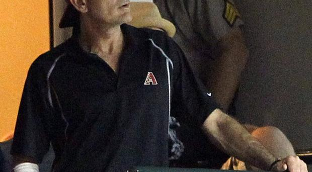 Charlie Sheen had his elbow strapped after a spot of baseball practice