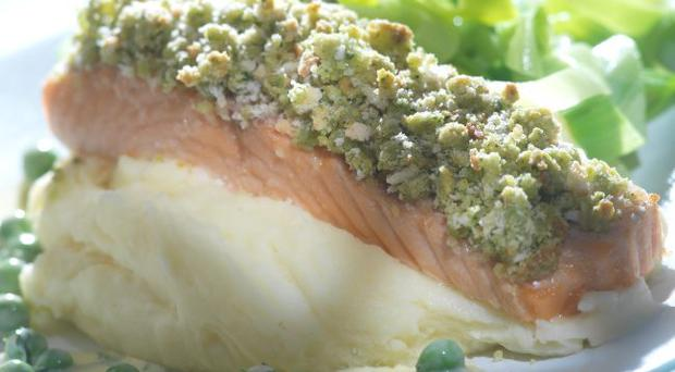 Herb and salmon with pea and mint cream