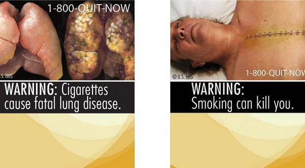 Two of nine new warning labels US cigarette makers will have to use on packets if their legal action fails(AP)