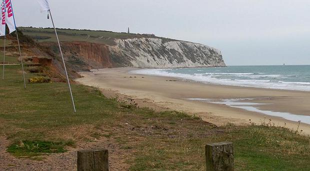 A view of the area on the Isle of Wight where the car went over the cliffs