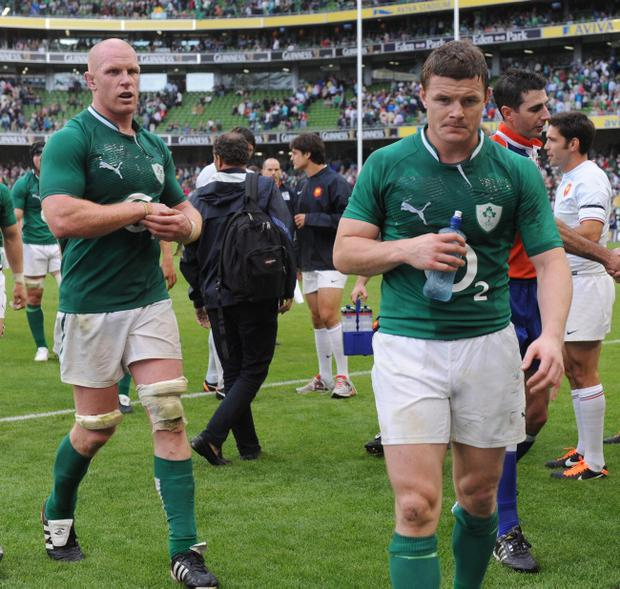 Ireland's Brian O'Driscoll (right) and Paul O'Connell leave the field following the International Match at the Aviva Stadium, Dublin