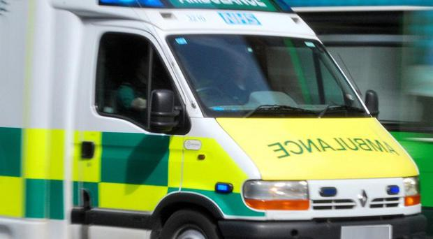 A pedestrian was killed when he was struck by an ambulance