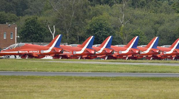 Nine red arrow Hawk aircraft are grounded at Bournemouth Airport in Dorset as it emerged it could be weeks before they take to the air again