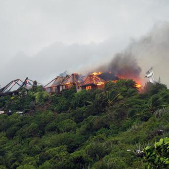 Sir Richard Branson's luxury home on Necker Island, which has been damaged by a middle-of-the-night fire