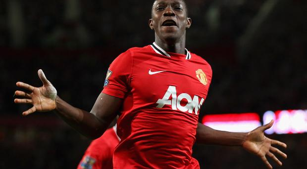 MANCHESTER, ENGLAND - AUGUST 22: Danny Welbeck of Manchester United celebrates after scoring the opening goal during the Barclays Premier League match between Manchester United and Tottenham Hotspur at Old Trafford on August 22, 2011 in Manchester, England. (Photo by Alex Livesey/Getty Images)