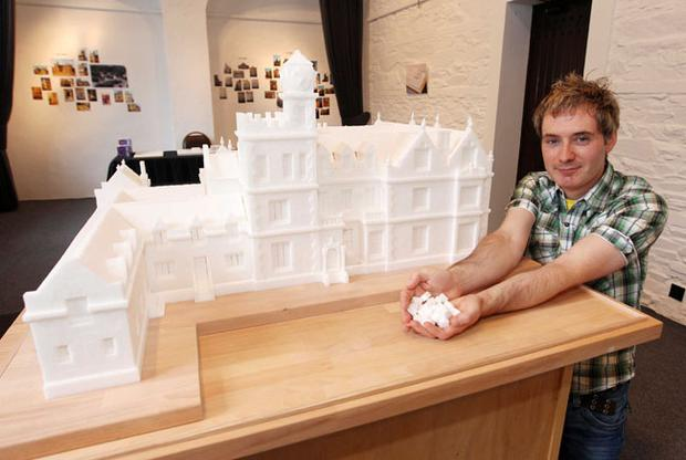 Artist Brendan Jamison makes a sculpture of Bangor Town Hall out of sugar cubes
