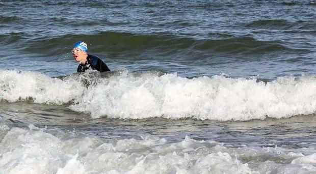 Flight Lieutenant Rachael Cadman after swimming the Channel to France