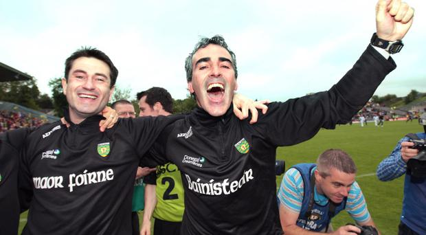 Donegal manager Jim McGuinness (right) with assistant Rory Gallagher