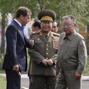 North Korean leader Kim Jong Il, right, and Russian President Dmitry Medvedev, left, have held a summit (AP)