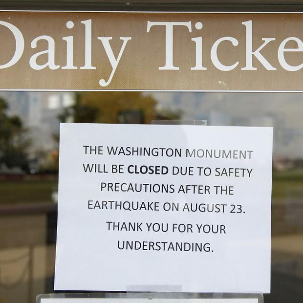 The Washington Monument remains closed after Tuesday's earthquake on the US east coast (AP)