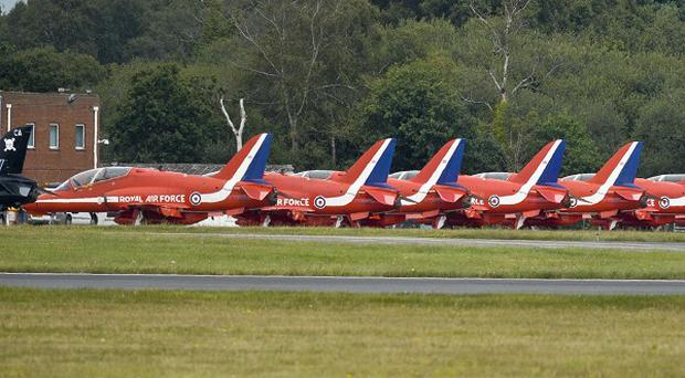 The Red Arrows plan to perform displays in an eight-aircraft formation, the RAF has said