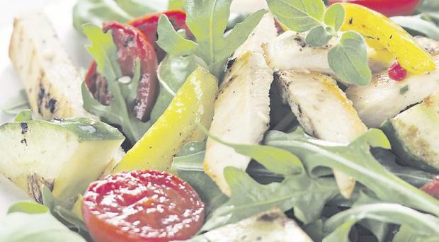 Grilled chicken and pepper caesar salad
