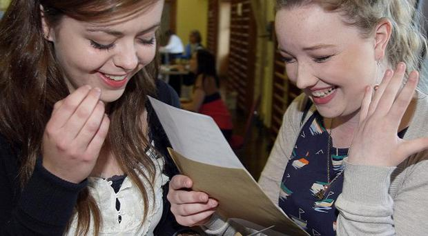 Pupils from St Louis Grammar school in Ballymena celebrate their GCSE results