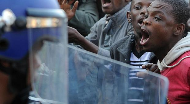 African National Congress Youth League supporters confront police in Johannesburg (The Star)