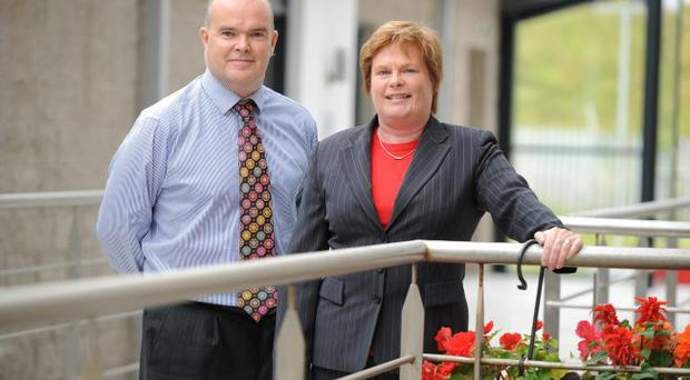 Simon Devlin (left), managing director of Full Circle in Belfast, with Dr Vicky Kell, Invest NI trade director