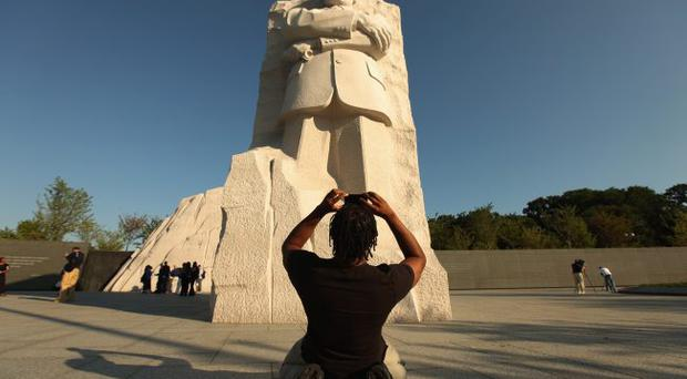 Lost leader: journalists at the new Martin Luther King Jr Memorial on the National Mall in Washington