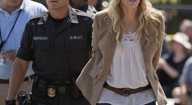 Daryl Hannah is arrested in front of the White House in Washington (AP)