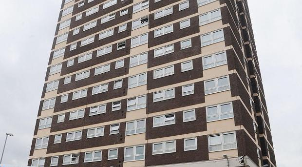 The Clyde Court flats, where two people plunged to their deaths