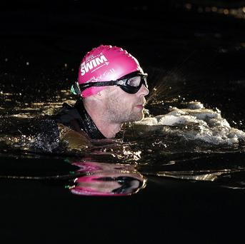 Singer Ronan Keating starts The Swim, a fundraising swim across the Irish Sea in aid of Cancer Research UK