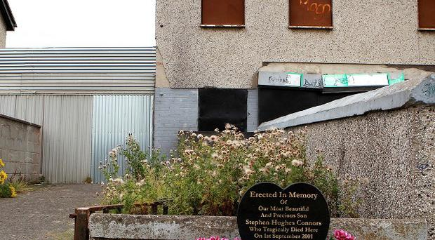 The site in Tallaght, Co Dublin, where Stephen Hughes Connors died after a suspected arson attack in September 2001
