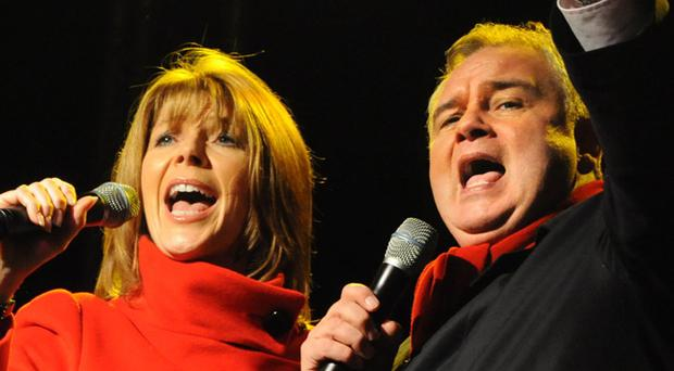 Eamonn Holmes and Ruth Langsford singing on stage as Belfast celebrates the countdown to Christmas in 2010