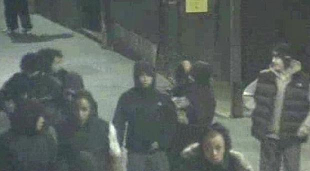 CCTV footage of a group suspected of breaking into and looting a North Face store in Liverpool on Tuesday August 9