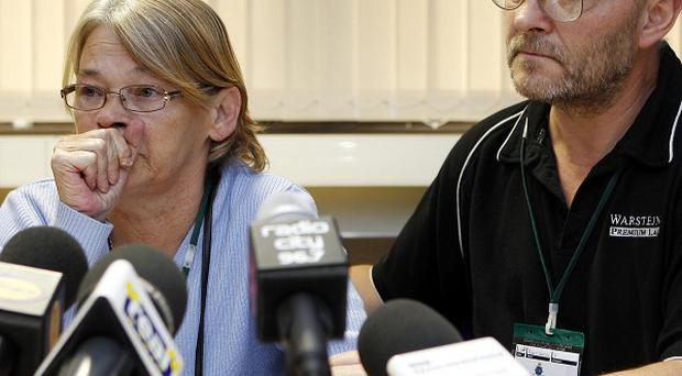 Ellen Ann and Robert Crofts, mother and father of Robbie Crofts, during a press conference at Merseyside Police headquarters