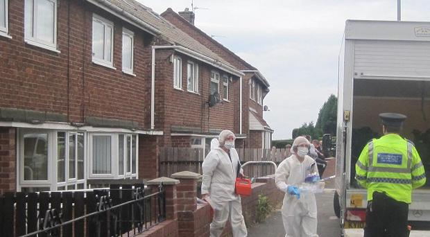 Forensic officers leaving the house of missing 85-year-old Francis Willis in Staindrop, Gateshead