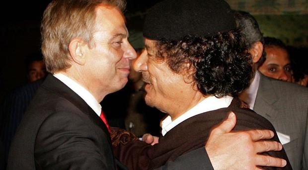 Tony Blair with Gaddafi in Libya in 2007, their second meeting