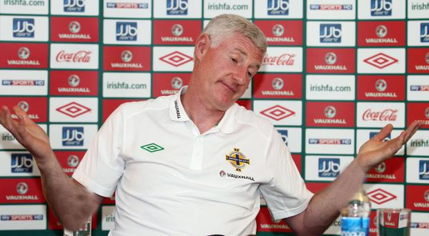 Nigel Worthington makes his point at a press conference