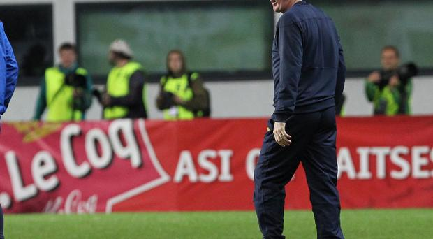 Northern Ireland manager Nigel Worthington watches last night's Euro 2012 qualifier against Estonia at the A Le Coq Arena, Tallinn