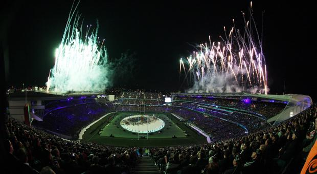 Fireworks explode over Eden Park during the opening ceremony for the Rugby World Cup in Auckland, New Zealand, Friday, Sept. 9, 2011