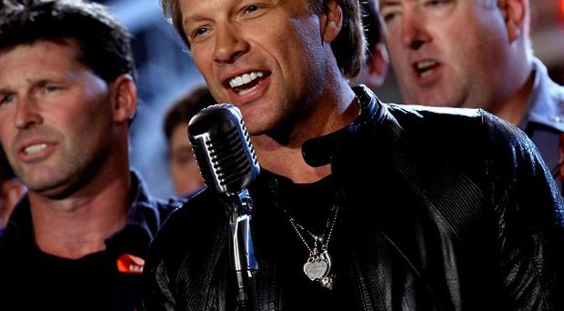 Jon Bon Jovi performs a rendition of America The Beautiful