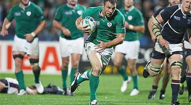 Tommy Bowe runs over Ireland's first try after a less than impressive opening period against the USA