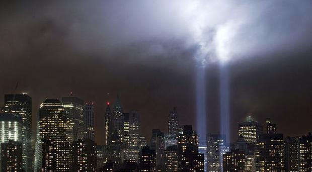 The Tribute Light where the World Trade Center stood