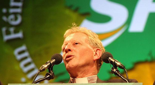 The Reverend David Latimer, a Presbyterian minister, addresses the annual Sinn Fein party conference in Belfast