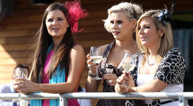 Victoria Square Ladies Race Day at Down Royal Racecourse - Holly Sweeney (centre), former girlfriend of Rory McIlroy at the Victoria Square Ladies Race Day September 2011.